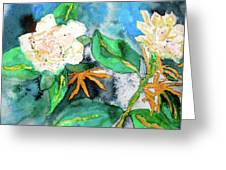 Busy Gardenias Greeting Card