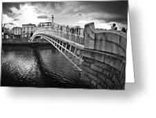 Busy Ha'penny Bridge 2 Bw Greeting Card