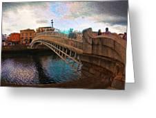 Busy Ha'penny Bridge  Greeting Card