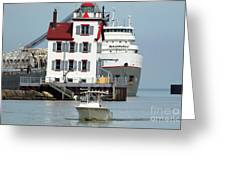 Busy Harbor Of Lorain Greeting Card