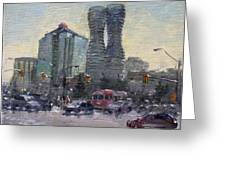 Busy Morning In Downtown Mississauga Greeting Card