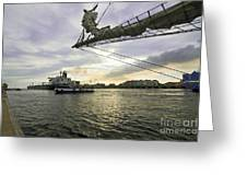 Busy Ship Channel At Sunset Greeting Card