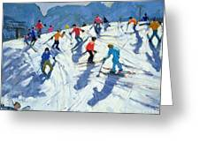 Busy Ski Slope Greeting Card by Andrew Macara
