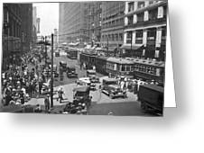 Busy State Street In Chicago Greeting Card