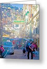 Busy Street In Central Marketplace In Rocinha Favela In Rio De Janeiro-brazil  Greeting Card