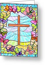 Butterflies And Cross Greeting Card