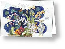 Butterflies And Orchids Greeting Card