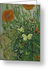 Butterflies And Poppies, 1890.  Greeting Card