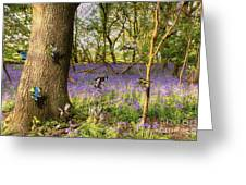 Butterflies In A Bluebell Woodland Greeting Card