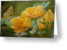 Butterfly Among Yellow Flowers Greeting Card