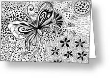 Butterfly And Flowers, Doodles Greeting Card
