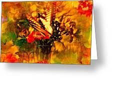 Butterfly Atop Flower Arrangement Greeting Card