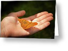 Butterfly On A Childs Hand Greeting Card