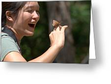 Butterfly On My Hand 2 Greeting Card