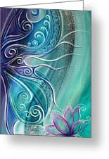 Butterfly Wing With Lotus Greeting Card