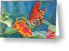 Butterfly With Flower Greeting Card