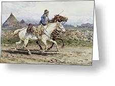 Buttero Riding In The Roman Campagna Greeting Card