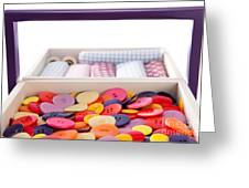 Buttons And Textile Fabrics In A Sewing Box Greeting Card