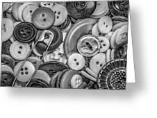 Buttons In Black And White Greeting Card