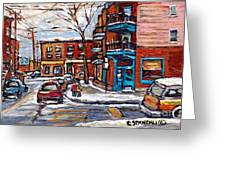 Buy Original Wilensky Montreal Paintings For Sale Achetez Petits Formats Scenes De Rue Street Scenes Greeting Card