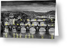 Bw Prague Bridges Greeting Card