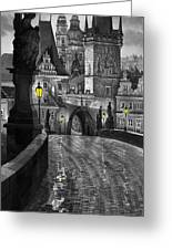 Bw Prague Charles Bridge 03 Greeting Card