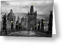 Bw Prague Charles Bridge 04 Greeting Card