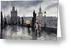 Bw Prague Charles Bridge 05 Greeting Card
