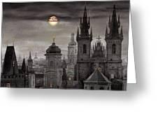 Bw Prague City Of Hundres Spiers Greeting Card by Yuriy  Shevchuk