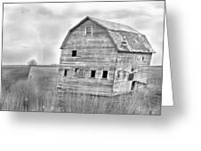 Bw Rustic Barn Lightning Strike Fine Art Photo Greeting Card