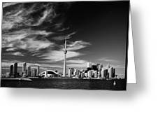 Bw Skyline Of Toronto Greeting Card by Andriy Zolotoiy