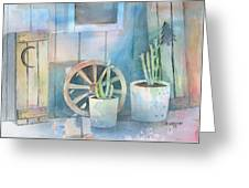 By The Side Of The Shed Greeting Card by Arline Wagner