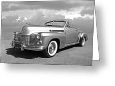Bygone Era - 1941 Cadillac Convertible In Black And White Greeting Card