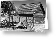 Cabin And Wagon Greeting Card