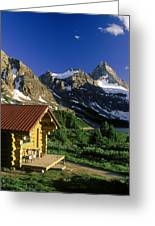 Cabin At Mt Assiniboine Lodge, Mt Greeting Card