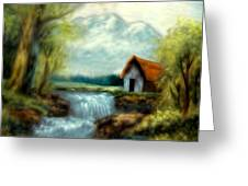 Cabin By The River Greeting Card