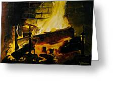 Cabin Fireplace Greeting Card by Doug Strickland