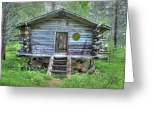 Cabin In Lapland Forest Greeting Card