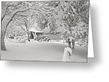 Cabin In Snow By The Sea Greeting Card