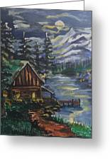 Cabin In The Mountains Greeting Card