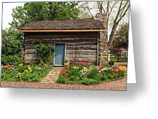 Cabin In The Tulip Patch Greeting Card