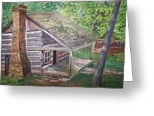 Cabin In The Woods Greeting Card by Ron Bowles