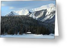 Cabin On Frozen Lake Greeting Card