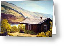 Cabin On The Snake River Ghost Town Of Holmstead Oregon Greeting Card by Evelyne Boynton Grierson