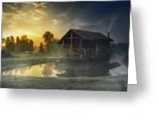 Cabin Sunrise Greeting Card