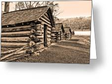 Cabins At Valley Forge In Sepia Greeting Card