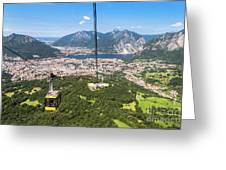 Cable Car Above The City Of Lecco Greeting Card