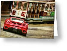 Cable Car Meets Ferrari Greeting Card