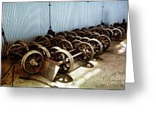 Cable Car Wheels, Repair Shop Greeting Card