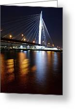 Cable-stayed Bridge Prins Clausbrug In Utrecht At Night 22 Greeting Card